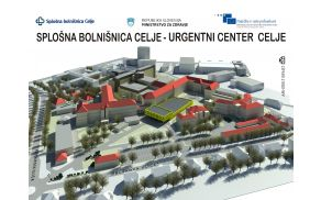 Nov Urgentni center Celje bo stal na prostoru med vzhodnim podaljškom Gizeline bolnišnice in stavbo oddelka za infekcijske bolezni in vročinska stanja.