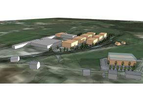 Shema iz potrjenega OPPN, ki prikazuje nov poslovno-trgovinski center na eni in nove zgradbe podjetja Schwarzman na drugi strani.