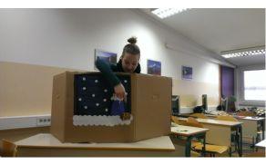 Udeleženka srednješolskega programa Predšolska vzgoja pri predstavitvi svoje naloge