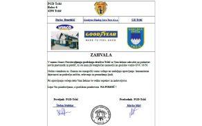 ZAHVALA za donacijo in namestitev avtoplaščev na najstarejše gasilsko vozilo v občini Tržič.