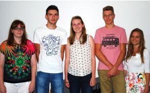 Zlati maturanti z leve: Tanja Peric, Matjaž Vovk, Sara Ilc, Jakob Božič in Nina Kobal