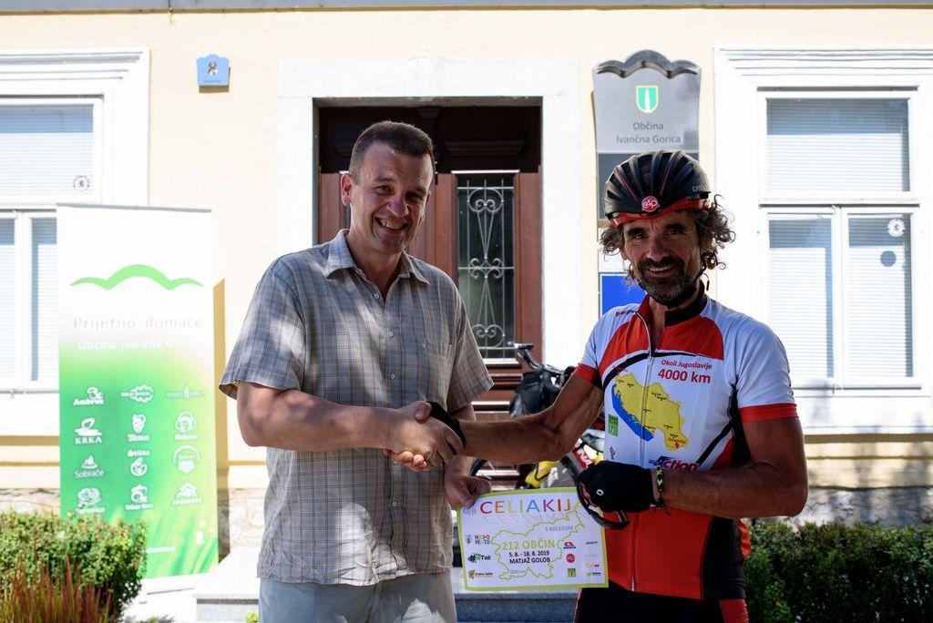 Dobrodošlica za kolesarja Matjaža Goloba tudi v Ivančni Gorici