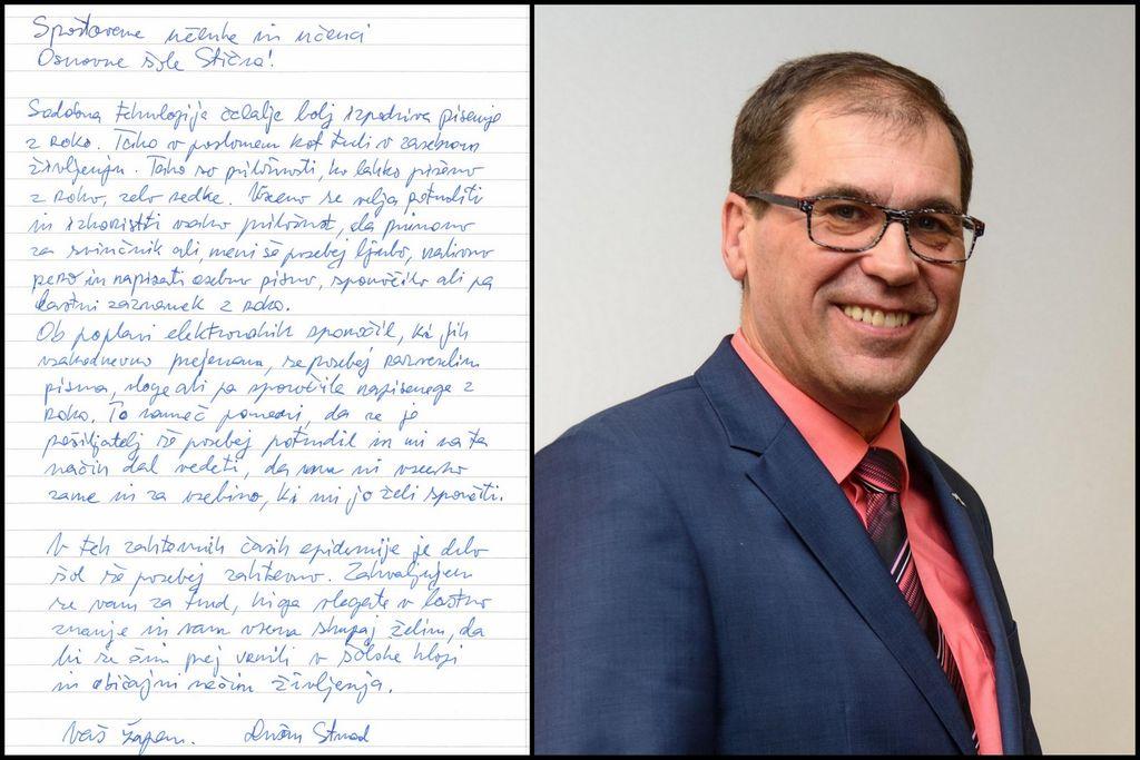 Župan Dušan Strnad se je pridružil akciji pisanja z roko