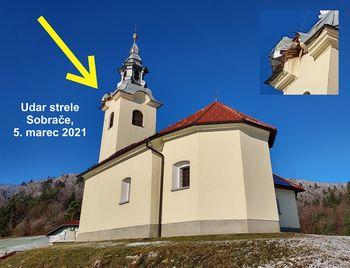 Občina bo pristopila k sanaciji posledic udara strele cerkve sv. Andreja v Sobračah