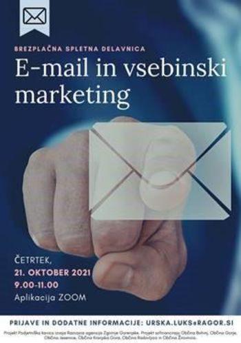 Vabilo na brezplačno spletno delavnico E-MAIL IN VSEBINSKI MARKETING