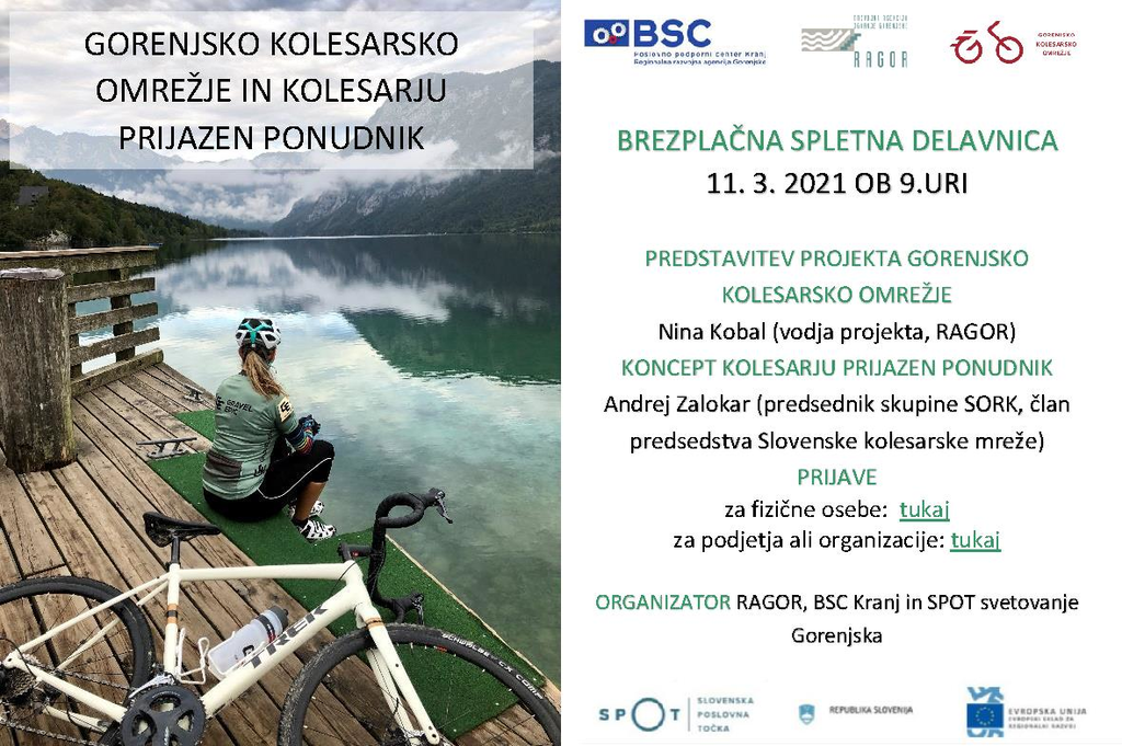 Brezplačna spletna delavnica - Predstavitev projekta gorenjsko kolesarsko omrežje