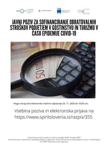Spirit Slovenija - Javni poziv za sofinanciranje obratovalnih stroškov podjetjem v gostinstvu in turizmu v času epidemije COVID-19
