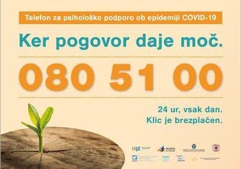 NIJZ - Ponovno zaživel telefon za psihološko podporo ob epidemiji covid-19: 080 51 00