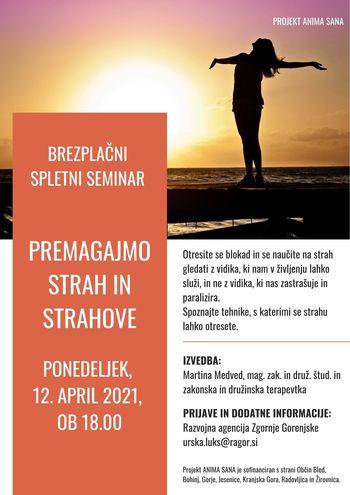 Spletni seminar PREMAGAJMO STRAH IN STRAHOVE