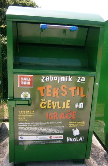 Obvestilo o odstranitvi zabojnikov za zbiranje tekstilnih izdelkov