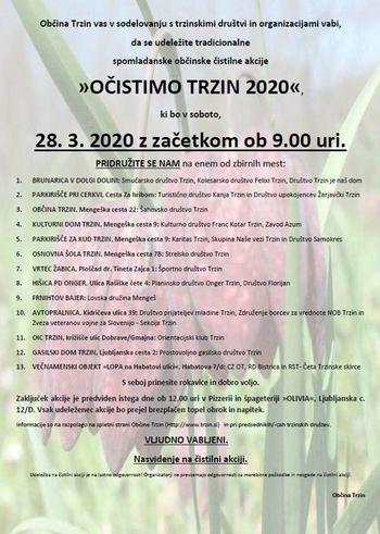 ODPOVEDANO!!!! Očistimo Trzin 2020