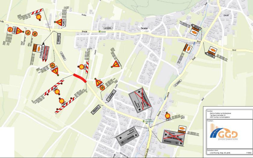 Popolna zapora lokalne ceste Cerklje - Češnjevek - Velesovo, na odseku konec naselja Cerklje - avtobusna postaja pri gostilni Bavant, 17.4.2021