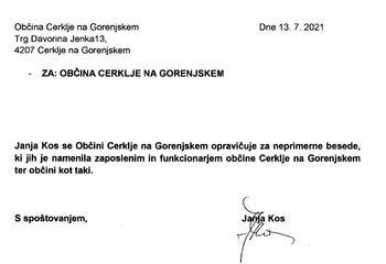 Javno opravičilo Občini Cerklje na Gorenjskem - Janja Kos