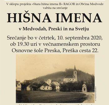 """Srečanje """"Stara hišna imena"""" v mestu Medvode"""