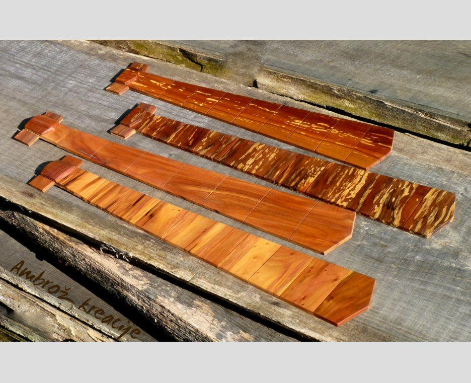 Unikatne lesene kravate, iz različnih vrst lesa