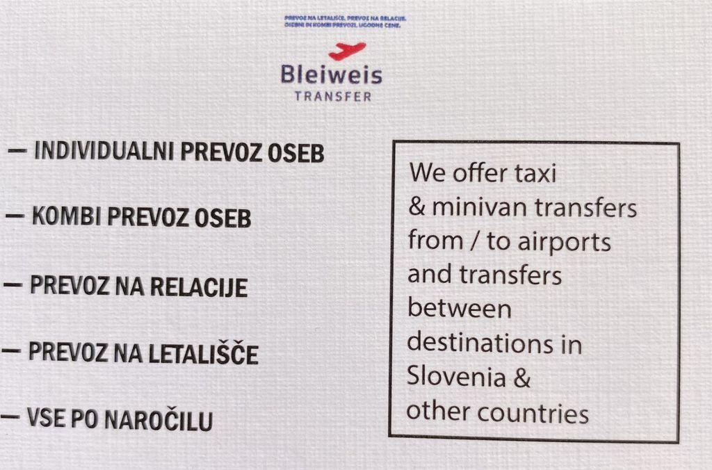 Prevoz oseb, prevozne storitve