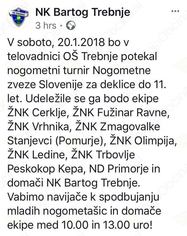 Turnir najboljših slovenskih nogometašic v Trebnjem